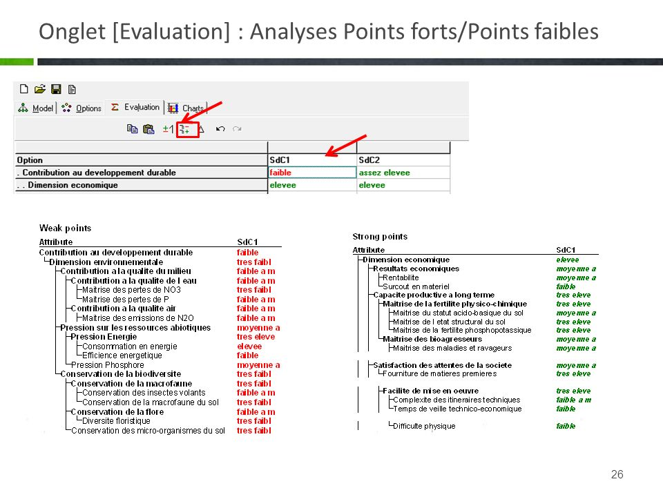 Onglet [Evaluation] : Analyses Points forts/Points faibles